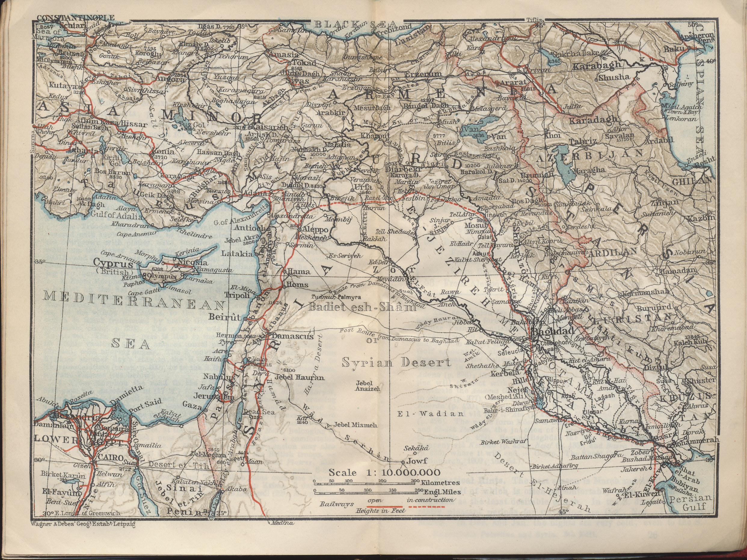 Map of Syria, Palestine, and Turkey from the Baedeker 1912 travel guide Palestine and Syria with Routes through Mesopotamia and Babylonia and with the Island of Cyprus.