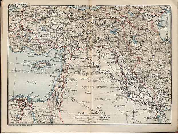 Map of Syria, Palestine, Turkey, and Mesopotamia from the Baedeker 1912 travel guide Palestine and Syria with Routes through Mesopotamia and Babylonia and with the Island of Cyprus.