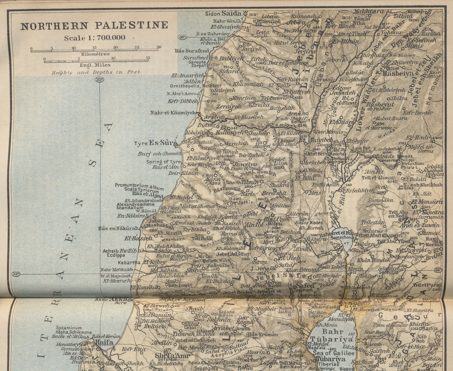 Northern Palestine (northern portion) from 'Palestine and Syria with Routes through Mesopotamia and Babylonia and with the Island of Cyprus' by Karl Baedeker