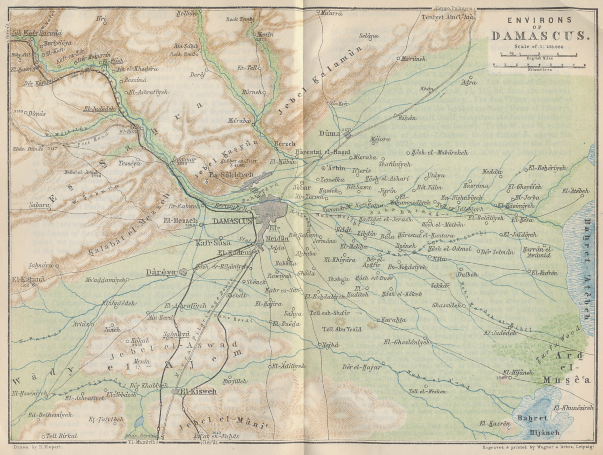 Map of Damascus and environs from 'Palestine and Syria with Routes through Mesopotamia and Babylonia and with the Island of Cyprus' by Karl Baedeker.