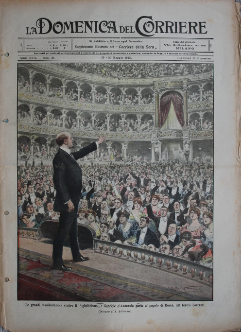 The poet, novelist, and political activist Gabriele d'Annunzio speaking in favor of Italy's entry into the war on the side of the Entente Allies, and against 'Giolittismo' at the Costanzi Theater in Rome, May, 1915. Giovanni Giolitti was five-time Prime Minister of Italy, and opposed intervention in the Great War. Illustration by Achille Beltrame.