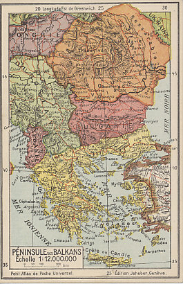 Postwar postcard map of the Balkans including Albania, newly-created Yugoslavia, expanded Romania, and diminished former Central Powers Bulgaria and Turkey. The first acquisitions of Greece in its war against Turkey are seen in Europe where it advanced almost to Constantinople, in the Aegean Islands from Samos to Rhodes, and on the Turkish mainland from its base in Smyrna. The Greco-Turkish war was fought from May 1919 to 1922. The positions shown held from the war's beginning to the summer of 1920 when Greece advanced eastward. Newly independent Hungary and Ukraine appear in the northwest and northeast.
