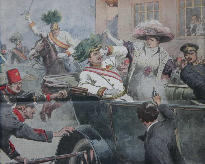 The assassination of Archduke Franz Ferdinand and his wife Sophie von Hohenberg was the cover story of La Domenica del Corriere for the week July 5 through 12, 1914. The assassin, Gavrilo Princip, said he aimed, turned away, and fired, and was not targeting the Countess. The illustrator may have positioned her standing to make sense of the two wounds: the Archduke was shot through the throat, his wife through the groin. Illustration by Alberto Beltrame.