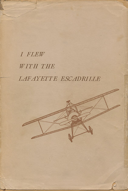 Dust jacket of %i1%I Flew With the Lafayette Escadrille%i0% by Edwin Parsons.