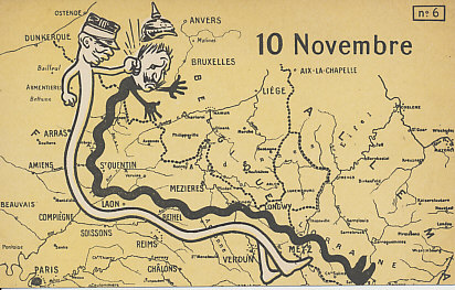 The Blow on the Yser, November 10, 1914, the sixth in a series of six postcards on the German invasion of France and the forming of the Western Front. The snaking bodies of French commander %+%Person%m%10%n%Joffre%-% and German %+%Person%m%3%n%Kaiser Wilhelm%-% turned to the north after the %+%Event%m%18%n%Battle of the Marne%-%, shaping the %+%Event%m%109%n%Race to the Sea%-%. Joffre has struck the Kaiser a roundhouse blow, sending his helmet flying. In the Battle of the Yser, the Belgian army, determined to hold native ground, inundated the coastal lowland along the Yser River. Behind Joffre's head is the small corner of Belgium they held throughout the war.