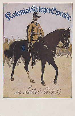 General Paul von Lettow-Vorbeck was commander of German forces in Africa, and successfully battled Allied forces for four years. Postcard from a painting by Fritz Grotemeyer.
