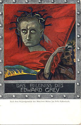 British Foreign Secretary Edward Grey as both Medusa and Dorian Gray. Pointed ears and a feather (quill pen?) behind his left.