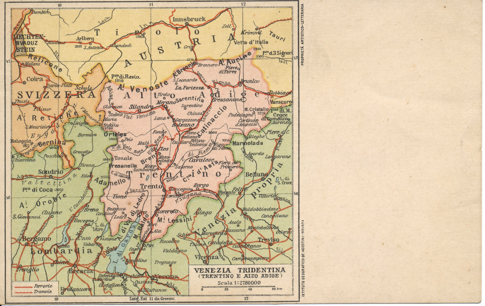 Postcard map of Trentino and Alto Adige (Venezia Tridentina) regions in Austria-Hungary with substantial Italian-speaking populations. Many Italians considered them part of Italia Irredenta, unredeemed Italy, and strove to obtain them by diplomacy or war, and incorporate them into Italy.