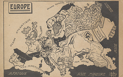 Caricature map of Europe by E. Muller, 1914. Despite the date, the depiction of the Balkans reflects the situation prior to the First Balkan War of 1912-13 in which Turkey lost substantial European territory to Serbia, Greece, Montenegro, Albania, and Bulgaria. It is also overstates the influence of Spain on Portugal in which, after the deposition of King Manuel II in 1910, the Republic of Portugal was declared.