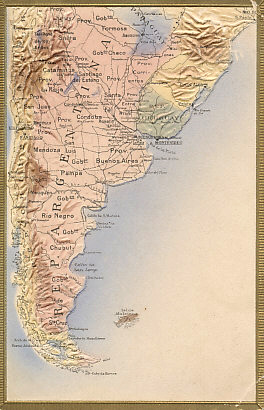 An embossed postcard of southern South America showing the Republics of Argentina, Chile, and Uruguay, southern Paraguay and Brazil, Cape Horn, and the Falkland Islands, a British territory claimed by Argentina as Islas Malvinas and the site of the Battle of the Falkland Islands on December 8, 1914.