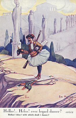 With which shall I dance? Neutral Greece trying to decide whether to align with the Central Powers or Allies. A Greek Evzone, member of an elite light infantry or mountain unit, weighs his options, a German pickelhaube in one hand, French kepi in the other. One of a series of 1916 postcards on neutral nations by Em. Dupuis.