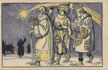 The three kings or wise men (Caspar, Melchior, and Balthasar) follow the Star of Bethlehem bearing gifts for the infant Jesus, passing German soldiers round a fire on their way. Rather than the traditional offerings of gold, frankincense, and myrrh, one king carries a box of Leibniz cookies. One king raises the star before them, giving the scene a stage-set quality. From a series of war advertising cards for Bahlsens Leibniz Cookies. Illustration by HDiez.