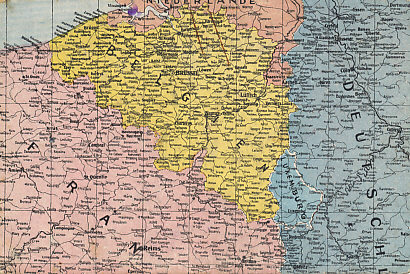 Postcard map of Belgium, Luxembourg, and northern France, field postmarked March 20, 1915, German 8th Infantry Division.