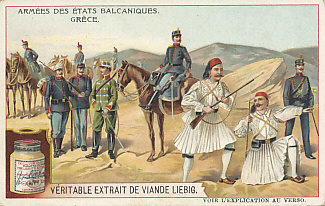 An advertising card of the Greek Army from the series Armées des États Balcaniques, published in 1910.