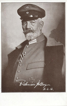 Reich's Chancellor Theobald von Bethmann Hollweg in military uniform with an Iron Cross, signed and dated April 10, 1916.