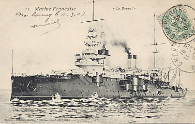 The French battleship Bouvet, sunk by a mine March 18, 1915 in the Allied naval attempt to %+%Event%m%65%n%force the Dardanelles%-%. Postmarked Cherbourg, March 11, 1907.