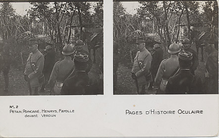 Stereo card of French Generals, Henri Philippe Pétain, Paul Henrys, and Émile Fayolle and French Raymond President Poincaré in the Verdun sector. Pétain is on the left and Poincaré behind him. Henrys is in the foreground, back to the camera, and Fayolle on the right.