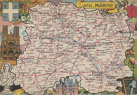 Map of the department of the Marne in Champagne was some of the most contested land during the war, site of the initial German invasion, the Battle of the Marne, the First and Second Battles of Champagne, the Champagne-Marne Offensive, Rheims Cathedral, Épernay, Châlons, Vitry-le-Francois, Ste-Menehould, and Perthes-les-Hurlus (First Champagne).