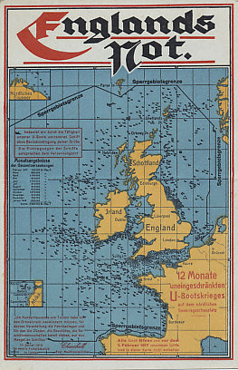 England's Distress: Postcard map of England and Ireland with the restricted zone Germany proclaimed around the islands, showing the ships destroyed by submarine in the 12 months beginning February 1, 1917.