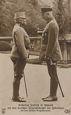 Archduke Friedrich of Austria-Hungary speaking with the German Chief of Staff Erich von Falkenhayn on the Eastern Front.