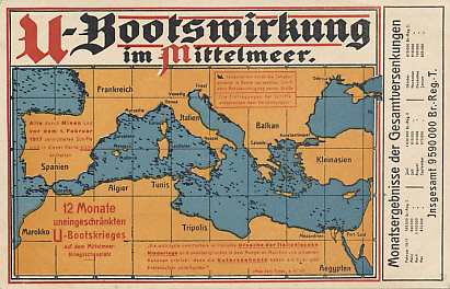 Having stopped unrestricted submarine warfare after sinking the Lusitania in 1915, Germany resumed the policy on January 31, 1917. The campaign peaked in April 1917, and helped bring the United States into the war.