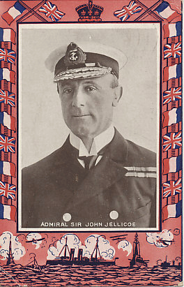 Portrait postcard of Admiral Sir John Jellicoe of the Royal Navy. Appointed Commander of the British Home Fleets on August 2, 1914, Jellicoe was criticized for his leadership of the British fleet during the May 31, 1916 Battle of Jutland in which he failed to decisively defeat the German High Seas Fleet. He was made First Sea Lord later that year. The card was postmarked from Glasgow, Scotland, on January 7, 1915.