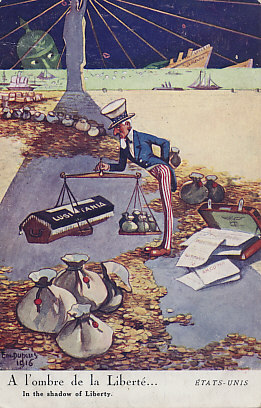 Uncle Sam weighs the lives lost in the German sinking of the Lusitania (and other ships, as seen on the horizon) to his cash flow from selling weapons and other supplies to the combatants, particularly the allies. The moneybags have tipped the scales. A 1916 postcard by Em. Dupuis.