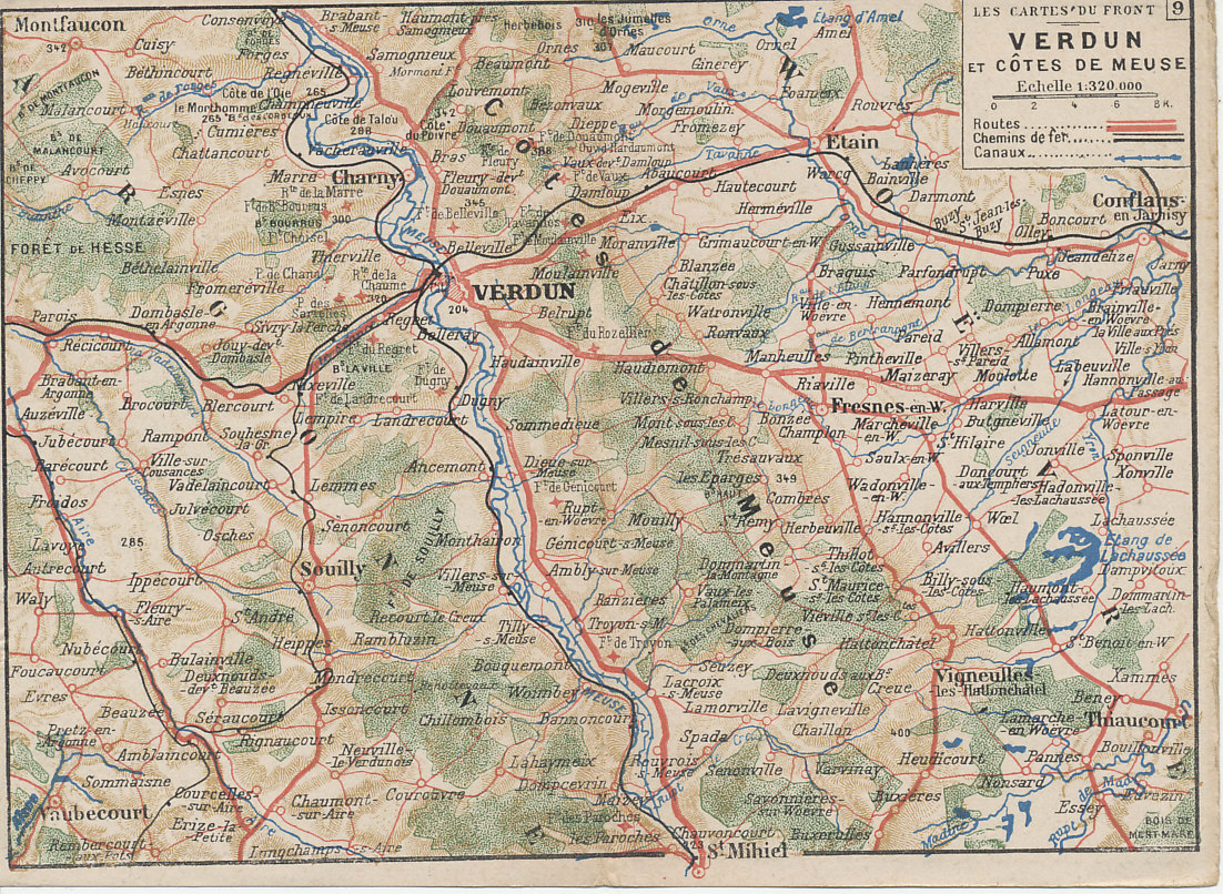 French folding postcard map of Verdun and the Meuse River, number 9 from the series %i1%Les Cartes du Front%i0%. Montfaucon is in the upper left and St. Mihiel at the bottom.