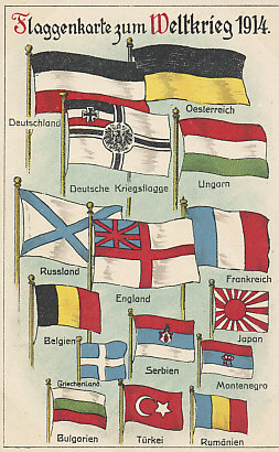 Flags of the World War, 1914. The Central Powers - Germany (with its national and battle flags) and Austria-Hungary - are above the Entente Allies - Russia and England (both naval rather than national flags), France, Belgium, Japan, Serbia, and Montenegro. Neutral nations are at the bottom. Turkey entered the war on the side of the Central Powers in October 1914, and Bulgaria in October 1915. Rumania joined the Allies in August 1916. Greece had a more reluctant relationship with the Allies who occupied Salonika in 1915. Greece did not formally join the Allies until 1917.