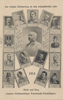 Portraits of generals who led Austria-Hungary's armies in 1914, including Dankl, Böhm-Ermolli, Brudermann, and Auffenberg, the generals who led the First, Second, Third, and Fourth Armies against Russia, losing badly, and Oskar Potiorek, who led three failed invasions of Serbia in 1914.
