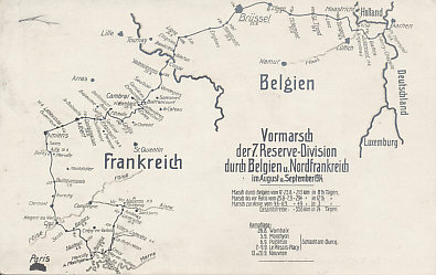 The advance of the 7th Reserve Division, part of the 4th Reserve Corps and of von Kluck's First Army, from Germany thru Belgium and northern France in August and September 1914, showing von Kluck's turn to the southeast away from Paris and exposure of his right flank to the French counterattack from the city. The 7th Division played a part in the Battles of the Marne and the Ourcq. The Division suffered heavily on September 6 and 7.