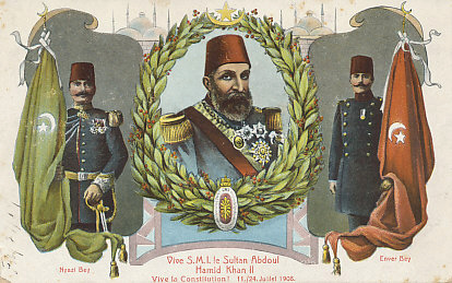 Postcard celebrating the 1908 military rebellion by the %+%Organization%m%45%n%Young Turks%-% that restored the constitution of 1876. Among the revolutionary leaders were Enver Bey, later %+%Person%m%49%n%Enver Pasha%-%, and Nyazi Bey. Sultan Abdul Hamid II was deposed in 1909, replaced by his brother %+%Person%m%82%n%Mohammed V%-%.