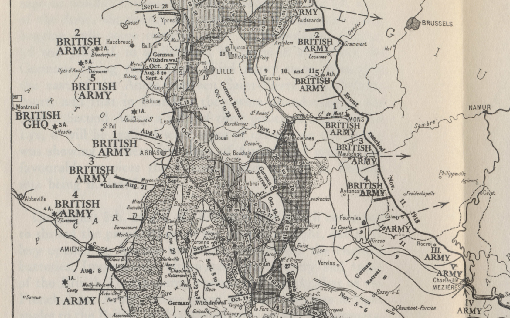 Detail showing the British sector of the Western Front from a map of the Allied offensives of 1918, from July 18 and the Second Battle of the Marne to the Armistice on November 11. From %i1%The Memoirs of Marshall Foch%i0% by Marshall Foch. The 1st and other armies to the south are French.