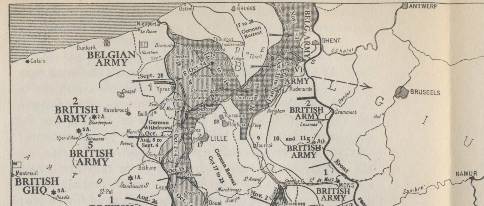 Detail showing the northern, Belgian sector of the Western Front from a map of the Allied offensives of 1918, from July 18 and the Second Battle of the Marne to the Armistice on November 11. From 'The Memoirs of Marshall Foch' by Marshall Foch.