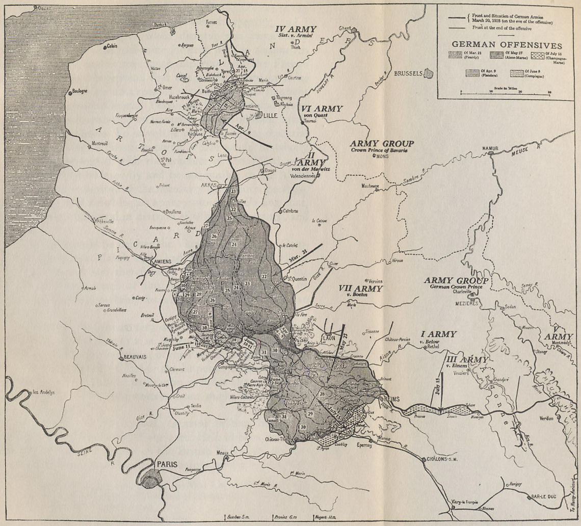 Map of the 1918 German offensives on the Western Front from 'The Memoirs of Marshall Foch' by Marshall Ferdinand Foch.