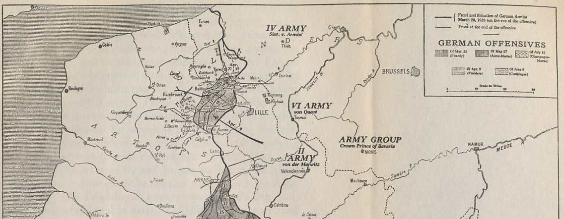 Northern detail showing Operation Georgette, the Lys Offensive, from a map of the 1918 German offensives on the Western Front from 'The Memoirs of Marshall Foch' by Marshall Ferdinand Foch. The white area north of the German advance shows the British strategic retreats of April 15/16 and April 27 that shortened the line of the Ypres salient.