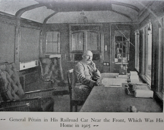 General Pétain in his railroad car, his home in 1915, near the front. From Verdun, by Henri Philippe Pétain.