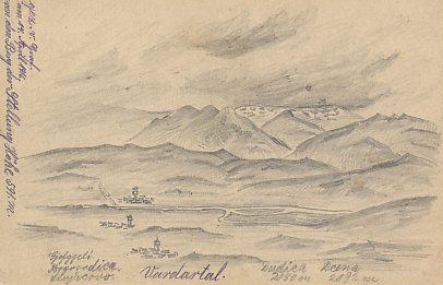 German pencil sketch dated April 14, 1916, of the Vardar River valley in Macedonia. Mount Dudica is on the current (2018) border between Macedonia and Greece.