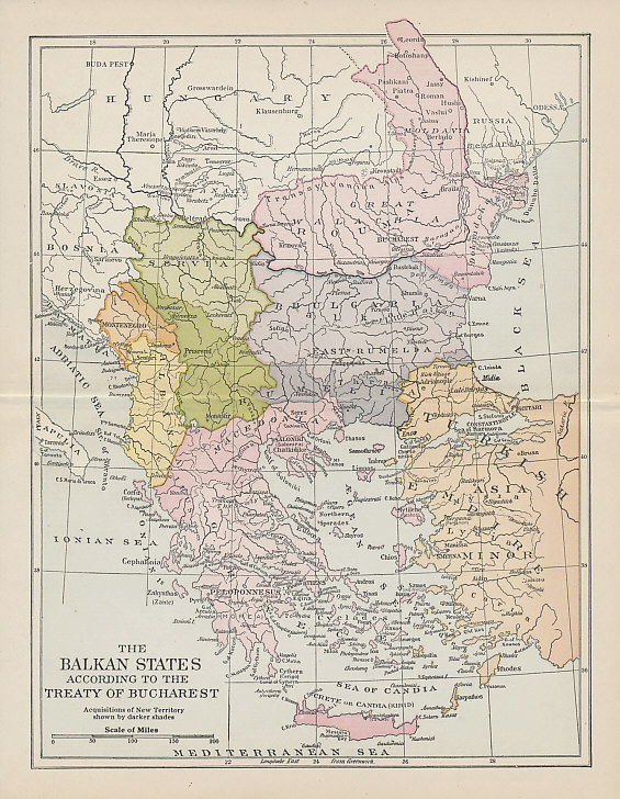Map showing the territorial gains (darker shades) of Romania, Bulgaria, Serbia, Montenegro, and Greece, primarily at the expense of Turkey, agreed in the Treaty of Bucharest following the Second Balkan War. Despite its gains, Bulgaria also lost territory to both Romania and Turkey.
