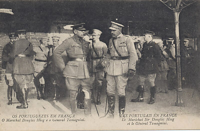 Marshall Douglas Haig, commander of British forces on the Western Front, meeting with General Tamagnini, his Portuguese counterpart.