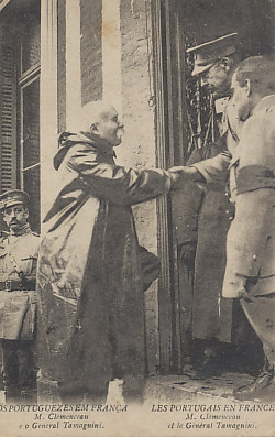French Prime Minister Georges Clemenceau greeting General Fernando Tamagnini, commander of Portuguese forces on the Western Front.
