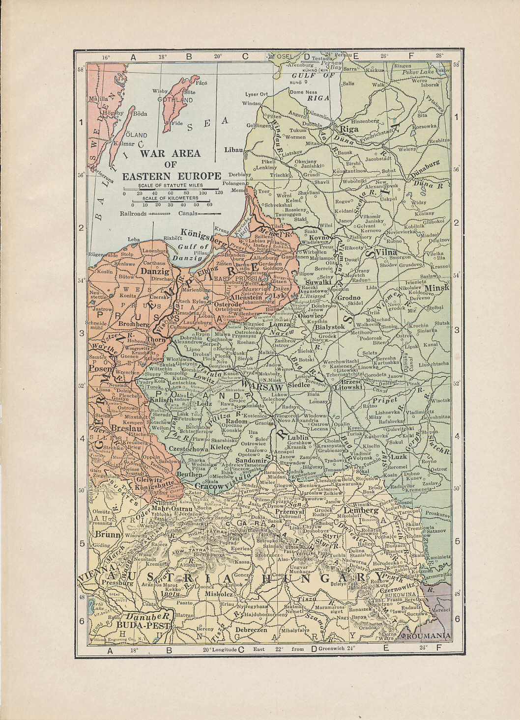 1916 Eastern Front war zone map showing the borders between Russia, Germany, and Austria-Hungary from the Baltic Sea to Romania.