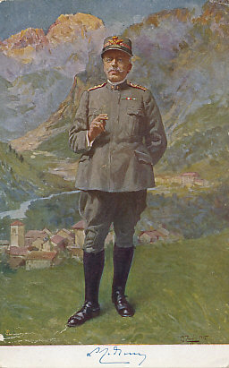 Postcard of a color painting of General Luigi Cadorna, chief of staff of the Italian Army