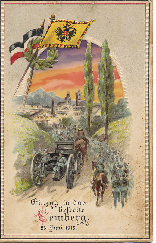 First battle of the isonzo embossed hold to light postcard celebrating the recapture of lemberg lvov austria hungary by german and austro hungarian troops sciox Gallery