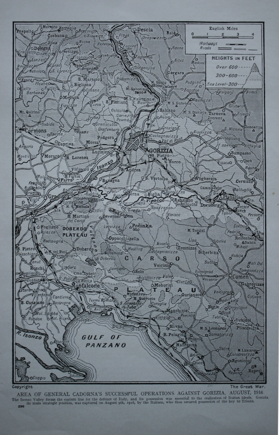 From a series on the Great War, a 1916 map on the the Sixth Battle of the Isonzo, Italian commander Luigi Cadorna's offensive in August of the same year. The Italians took crossed much of the Isonzo, and took Gorizia. The Austro-Hungarians continued to hold high ground to the east. 