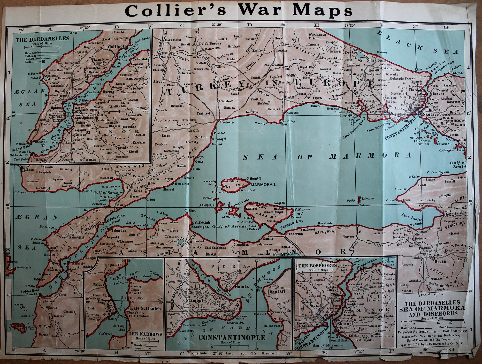 Collier's War Maps of the Dardanelles, the Sea of Marmora, and the Bosphorus, with insets for the Dardanelles and the Gallipoli Peninsula, the Narrows of the Dardanelles, Constantinople (Istanbul), and the Bosphorus between the Sea of Marmora and the Black Sea
