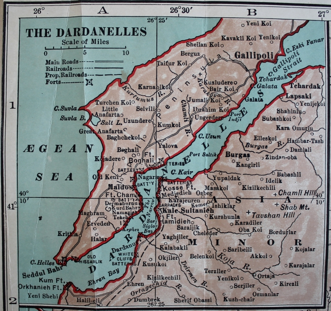 The Dardanelles and the Gallipoli Peninsula, an inset from Collier's War Maps of the Dardanelles, the %+%Location%m%79%n%Sea of Marmora%-%, and the %+%Location%m%81%n%Bosphorus%-%.