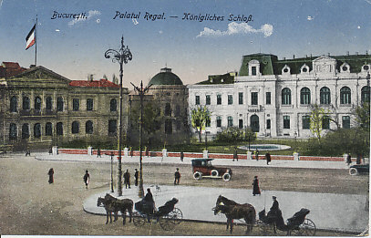 The Royal Palace in Bucharest, Romania. A postcard altered to show the German flag flying over the palace.