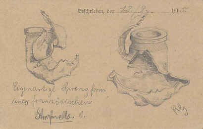Pencil sketch of a piece of French shrapnel by a German soldier1 drawn September 12, 1915.  Shrapnel was an anti-personnel weapon, designed to kill and maim.