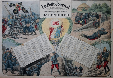Calendar from the French magazine Le Petit Journal with scenes including (clockwise from top left) the capture of a German battle flag by Zouaves and Chasseurs à pied, a French artillery crew manning a 75mm. field gun, a dragoon moving into position, a heavier gun firing, entrenched troops, and marines advancing. The calendar includes Roman Catholic holy days, saints days, Independence Day, and the time of sunrise and sunset. Illustration by L. Bomblec (?).